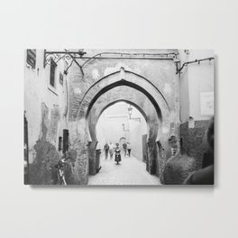 Black and white street photography | Medina of Marrakech | Travel photo print Metal Print