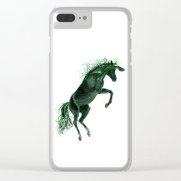 Happy Horse in Green Clear iPhone Case