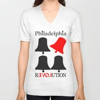 philadelphia V-neck T-shirts featuring rEVOLution Philadelphia by Humboldtarian