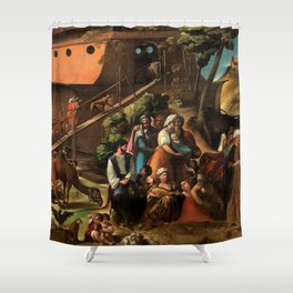 1520 Classical Masterpiece 'Entering into the Ark' by Dosso Dossi Shower Curtain
