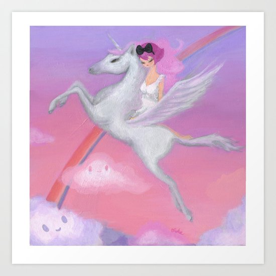 The Girl Who Flew Over the Clouds Art Print