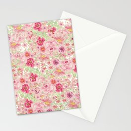Pastel pink red watercolor hand painted floral Stationery Cards