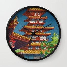 Japanese Woodblock Print Vintage Asian Art Colorful woodblock prints Pagoda Shinto Shrine Wall Clock