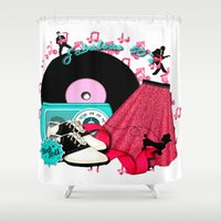 rockabilly Shower Curtains featuring Rockabilly Rock n Roll by BURPdesigns