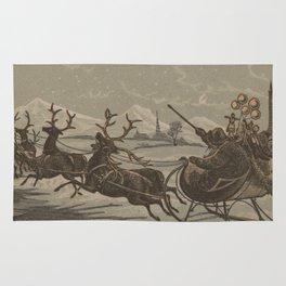 Vintage Santa and His Reindeer Illustration (1880) Rug