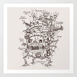 Howl's Moving Castle Plan Art Print