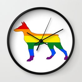 Rainbow Doberman Wall Clock