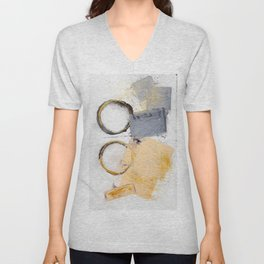 abstract circles blue, peach and gold illustration Unisex V-Neck