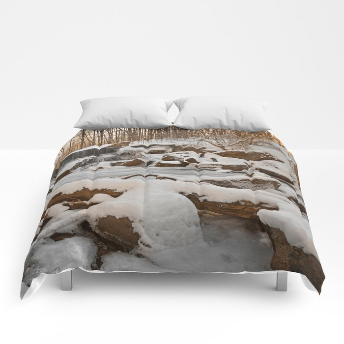 Winter Sunset Waterfall Comforters