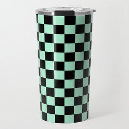 Black and Magic Mint Green Checkerboard Travel Mug