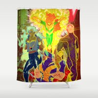x men Shower Curtains featuring Uncanny X-Men by Artless Arts