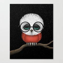 Baby Owl with Glasses and Polish Flag Canvas Print