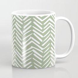 Boho Herringbone Pattern, Sage Green and White Coffee Mug