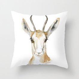 Springbok Antelope Watercolor Painting Throw Pillow