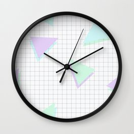 Cool-Color Pastel Triangles on Grid Wall Clock