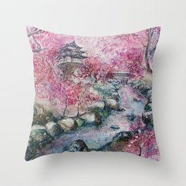 Cherry blossom (Watercolor painting) Throw Pillow