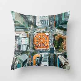 Aerial Cityscape View (Color) Throw Pillow