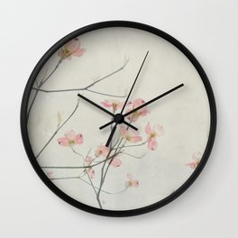 Pink Dogwood Flower Botanical Wall Clock
