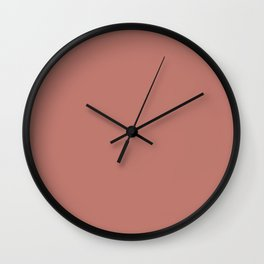 Deep Rose Pink Solid Color Pairs with Sherwin Williams Heart 2020 Forecast Color Coral Clay SW9005 Wall Clock