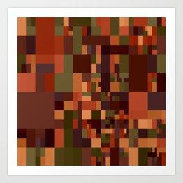 brown green mosaic Art Print