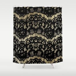 Luxury chic faux gold black floral french lace Shower Curtain