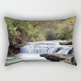 Briggs Woods Lower Waterfall in Autumn Rectangular Pillow