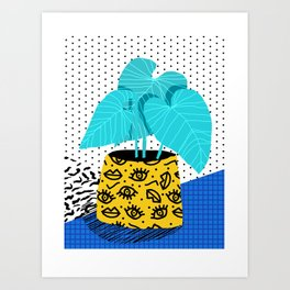 Totes magoats - memphis throwback retro house plant squiggle dot polka dot neon 1980s 80s style art Art Print