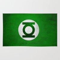 green lantern Area & Throw Rugs featuring Green Lantern by whosyourdeddy