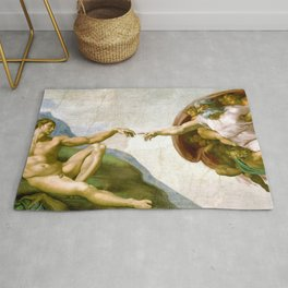 The Creation of Adam Painting by Michelangelo Sistine Chapel Rug