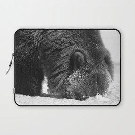 Alaskan Grizzly Bear in Snow, B & W - 2 Laptop Sleeve