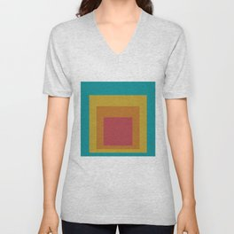 Block Colors - Teal Yellow Red Unisex V-Neck