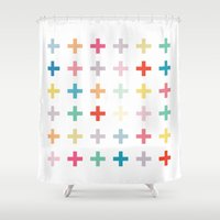 cross Shower Curtains featuring Cross by Manu Design and Co