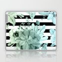 Succulents in the Garden Teal Blue Green Gradient with Black Stripes by naturemagick