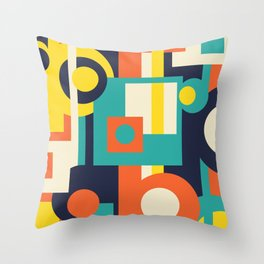 Funky Geometry (Modern Vibrant Color Palette) Throw Pillow