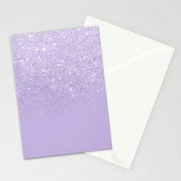 Stylish purple lavender glitter ombre color block Stationery Cards
