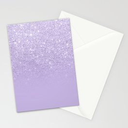 Stylish purple lavender glitter ombre color block Stationery Cards