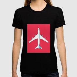 747-400 Jumbo Jet Airliner Aircraft - Crimson T-shirt