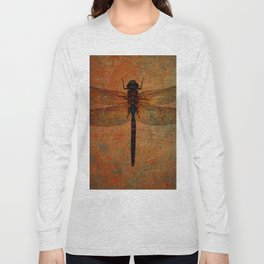 Dragonfly On Orange and Green Background Long Sleeve T-shirt