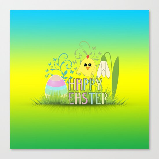 Happy Easter Egg, Chick and Snowdrop Canvas Print
