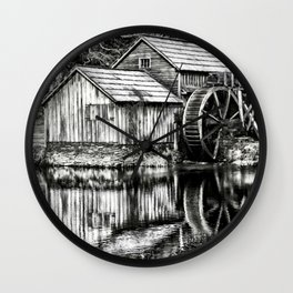 The Old Mill Black and White Wall Clock