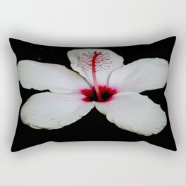 White Hibiscus Isolated on Black Background Rectangular Pillow
