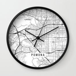Pomona Map, USA - Black and White Wall Clock