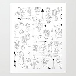Hand Drawn Cacti Pattern Art Print