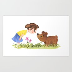 Girl And Bear Say Hello Art Print