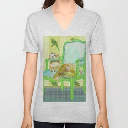 animals in chairs #6 The Sloth Unisex V-Neck