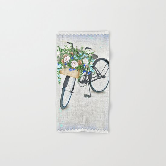 Black bike & roses Hand & Bath Towel