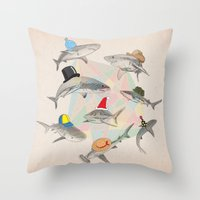 hats Throw Pillows featuring Hats On by Chaopi Lin
