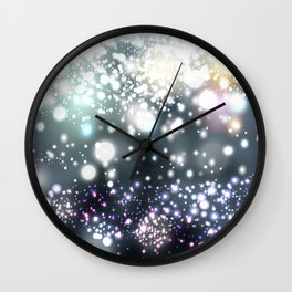 Christmas pattern with snowflakes and lights Wall Clock