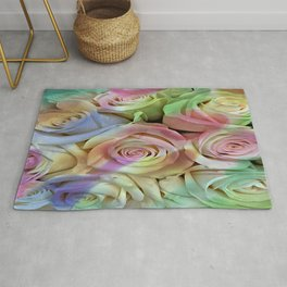 Watercolor Pastel Roses Rug