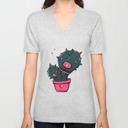 Catus Fetish , a love story of cactus in latex , weird art, cute cactus, fetish, bdsm Unisex V-Neck